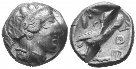ATTICA. Athens. AR Tetradrachm. ca. 454-415 B.C. Obv: Helmeted head of Athena right;  Reverse: Owl standing right, head facing, olive sprig behind, al...