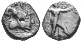 Cyprus, Kition AR Stater. Azbaal, circa 449-425 BC. Herakles in fighting stance to right, wearing lion skin upon his back and tied around neck, holdin...