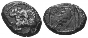 Cilicia, Tarsus c.425-400 BC, Stater, lion left attacking back of bull kneeling right, circlet in front, rev TRZ in field right, ear of barley, crab i...