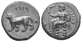 Cilicia, Tarsos AR Stater. Mazaios, satrap of Cilicia and Cappadocia, circa 361-334 BC. Baaltars seated left, torso facing, holding sceptre surmounted...