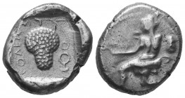 Cilicia, Soloi AR Stater. Circa 440-410 BC. Amazon kneeling left, quiver and bowcase at her side, holding bow; helmet to right / Grape bunch; laurel b...