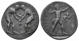 PAMPHYLIA. Aspendos. Circa 380/75-330/25 BC. Stater. Two nude wrestlers, standing and grappling with each other; between them, AΦ. Rev. ΕΣΤFΕΔΙΙΥΣ Sli...