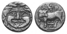 Mysia, Parion AR Hemidrachm. Circa 4th century BC. Bull standing left, head right; ΠA-PI above and below, bukranion set on exergual line / Facing gorg...