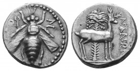 Ionia, Ephesos AR Drachm. Circa 202-150 BC. Bee with straight wings; E-Φ across fields / Stag standing right before palm tree;  Condition: Very Fine  ...