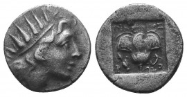 Islands off Caria. Rhodos circa 205-190 BC. Ainetor, magistrate. Drachm AR Head of Helios facing slightly right / Rose with bud to right;  Condition: ...