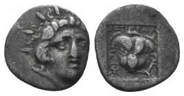 Islands off Caria. Rhodos circa 205-190 BC. Ainetor, magistrate. AR Head of Helios facing slightly right / Rose with bud to right;  Condition: Very Fi...