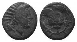 Islands off Caria. Rhodos circa 205-190 BC. Ainetor, magistrate. Ae Head of Helios facing slightly right / Rose with bud to right;  Condition: Very Fi...