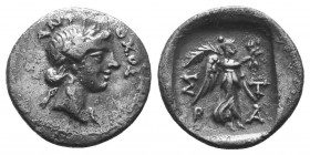 Karia, Stratonikeia AR Drachm. 25 BC-25 AD. Leon, magistrate. Laureate head of Hekate right, crescent above / Nike advancing right holding wreath;  Co...