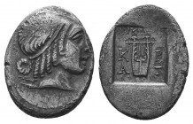 Lykian League, Kragos AR Drachm. Circa 48-18 BC. Head of Apollo right, hair bound with taenia; bow and quiver over shoulder / Kithara, ΛΥΚΙΩΝ above, K...