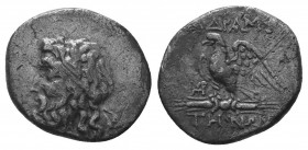 Mysia, Adramytion AR Tetrobol. Circa 200-100 BC. Laureate head of Zeus left / ΑΔΡΑΜΥ-ΤΗΝΩΝ, eagle, with wings spread, standing left on thunderbolt; mo...