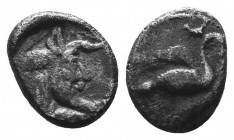 CILICIA, Mallos. Circa 425-385 BC. AR Obol.. Swan flying right / Forepart of man-headed bull right. SNG France