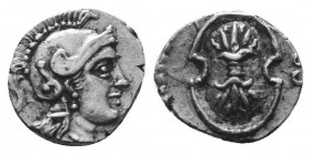 CILICIA. Tarsos. Balakros (Satrap of Cilicia, 333-323 BC). Tetartemorion(?). Obv: Helmeted head of Athena right. Rev: Boeotian shield; B to left. Zieg...