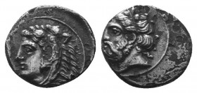 CILICIA, Uncertain. 4th century BC. AR Obol . Laureate head of Zeus left / Head of Herakles left, wearing lion skin. SNG Levante 198–9.