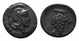 CILICIA, Soloi. Circa 410-375 BC. AR Obol.. Helmeted head of Athena right / Grape bunch with tendrils; monogram to left. Cf. SNG France 184