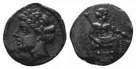 CILICIA. Mallos. Circa 385-375 BC. Obol. Baaltars seated right, holding scepter in his right hand and grain ear and grapes in his left. Rev. Laureate ...
