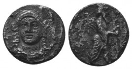 CILICIA, Uncertain. 4th century BC. AR Obol. Head of Athena facing slightly left, wearing triple-crested helmet / King standing right, holding scepter...