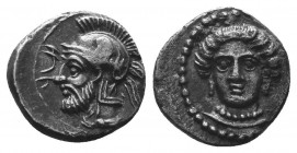 CILICIA, Tarsos. Pharnabazos. Persian military commander, 380-374/3 BC. AR Obol. Struck circa 380-379 BC. Female head facing slightly left, wearing si...