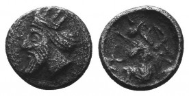 CILICIA, Uncertain or Mallos. Circa 390-385 BC. AR Hemiobol, Head is left / Persian king of hero in kneeling-running stance right, holding transverse ...