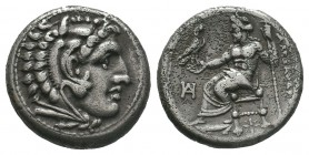 Alexander III the Great (336-323 BC). AR drachm. Miletus, Head of Heracles right, wearing lion skin headdress / ΑΛΕΞΑΝΔΡΟΥ, Zeus seated on backless th...