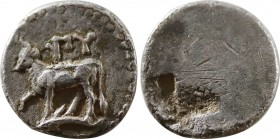 THRACE. Byzantion. 1/10 Stater (Circa 340-320 BC). Obv: ΠY. Bull standing left on dolphin. Rev: Quadripartite millsail incuse. SNG BM Black Sea 42-48....