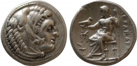 KINGS OF MACEDON. Alexander III 'the Great' (336-323 BC). Drachm. Sardes. Obv: Head of Herakles right, wearing lion skin. Rev: AΛEΞANΔPOY. Zeus seated...