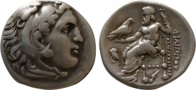 KINGS OF MACEDON. Philip III Arrhidaİus. (323-317 BC). Drachm, Abydus (?). Obv: Head of Heracles r. wearing lion's skin headdress. Rev. ΦIΛIΠΠOY Zeus ...