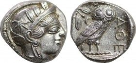 ATTICA. Athens. Tetradrachm (Circa 454-404 BC). Obv: Helmeted head of Athena right, with frontal eye. Rev: AΘE. Owl standing right, head facing; olive...