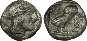 ATTICA. Athens. Drachm (Circa 454-404 BC). Obv: Helmeted head of Athena right. Rev: AΘE. Owl standing right, head facing; olive sprig to left; all wit...