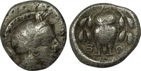 ATTICA. Athens. Hemidrachm (Circa 454-404 BC). Obv: Helmeted head of Athena right, with frontal eye. Rev: A - Θ - Ǝ. Owl standing facing between two o...