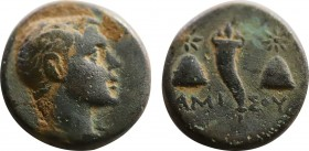 PONTOS. Amisos. Ae. Struck under Mithradates VI (Circa 120-111 or 110-100 BC). Obv: Draped and winged bust of Perseus right. Rev: AMI - ΣOY. Cornucopi...