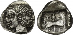 ISLANDS OFF TROAS, Tenedos. (Circa 550-470 BC). AR Didrachm. Obv:Janiform male and female heads (Zeus and Hera?). Rev: Labrys within dotted square bor...