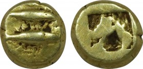 MYSIA. Kyzikos. EL Hemihekte (Circa 550-500 BC). Obv: Facing head of panther; to right, tunny downward. Rev: Quadripartite incuse square. Nomisma VII ...