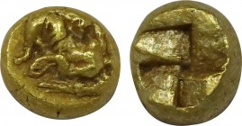 MYSIA. Cyzicus. 5th-4th Centuries BC. EL 1/12 stater or hemihecte (6mm, 0.71gm). Obv; Nike crouching left, on tunny fish left, aphlaston in outstretch...