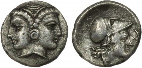 MYSIA. Lampsakos. Diobol (4th-3rd centuries BC). Obv: Janiform female heads. Rev: ΛΑΜ. Helmeted head of Athena right. SNG France -; SNG Ashmolean 660....