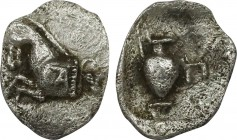 MYSIA. Proconnesos. Obol (Circa 400-280 BC). Obv: Forepart of horse left; grape bunch to right. Rev: Oinochoe; Π to right; all within incuse square. W...