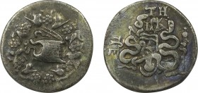 MYSIA. Pergamon. Cistophor (Circa 166-67 BC). Obv: Cista mystica with serpent; all within ivy wreath. Rev: Bowcase between two serpents; civic monogra...