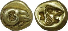 LESBOS. Mytilene. EL Hekte (Circa 521-478 BC). Obv: Head of ram right; below, cock standing left, with head lowered. Rev: Incuse head of roaring lion ...