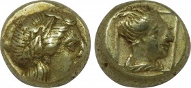 LESBOS. Mytilene. EL Hekte (Circa 377-326 BC). Obv: Laureate head of Apollo (or Dionysos?) right. Rev: Draped female bust (of Artemis?) right within l...