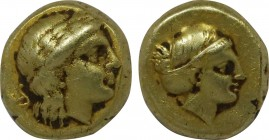 LESBOS. Mytilene. EL Hekte (Circa 377-326 BC). Obv: Laureate head of Apollo right. Rev: Head of female right, with hair in sakkos; to left, serpent co...