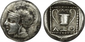 LESBOS. Methymna. Drachm (Circa 450/40-406/379 BC). Obv: Helmeted head of Athena left. Rev: Μ - Α - Θ. Kantharos within pelleted square border; all wi...
