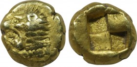 IONIA. Erythrai. EL Hekte (Circa 550-500 BC). Obv: Head of Herakles left, wearing lion skin. Rev: Quadripartite incuse square. SNG Kayhan I 737-8; SNG...