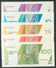 ARUBA. Set of 5 banknotes, all with the same numbering. Very Fine.