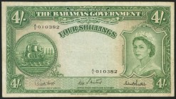 BAHAMAS. 4 Shillings. 1953. (Pick: 13d). Very fine.
