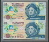 BAHAMAS. 1 Dollar. 1974. Uncut pair. (Pick: 50). Uncirculated.
