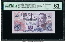 Austria Austrian National Bank 50 Schilling 1962 (1963) Pick 137s Specimen PMG Choice Uncirculated 63. Red Muster overprints; roulette punch; previous...