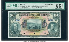 Bolivia Banco Central 100 Bolivianos 20.7.1928 Pick 125s Specimen PMG Gem Uncirculated 66 EPQ. Blue Specimen overprints; three POCs. This will be Pick...
