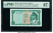 Brunei Government of Brunei 5 Ringgit 1967 Pick 2a KNB2 PMG Superb Gem Unc 67 EPQ.   HID09801242017  © 2020 Heritage Auctions | All Rights Reserved