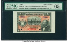 Chile Republica de Chile 1 Peso ND (1898-1919) Pick 15s Specimen PMG Gem Uncirculated 65 EPQ. Red Specimen overprint; two POCs.  HID09801242017  © 202...
