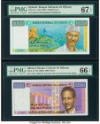 Djibouti Banque Nationale de Djibouti 10,000; 5000 Francs ND (1999); ND (2002) Pick 41a; 43 Two Examples PMG Superb Gem Unc 67 EPQ; Gem Uncirculated 6...