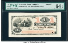Ecuador Banco de Quito 1 Peso 2.1.1880 Pick S241fp Proof PMG Choice Uncirculated 64 EPQ. One POC.  HID09801242017  © 2020 Heritage Auctions | All Righ...
